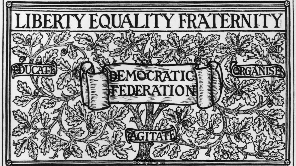 William Morris's design for the Democratic Federation's membership card
